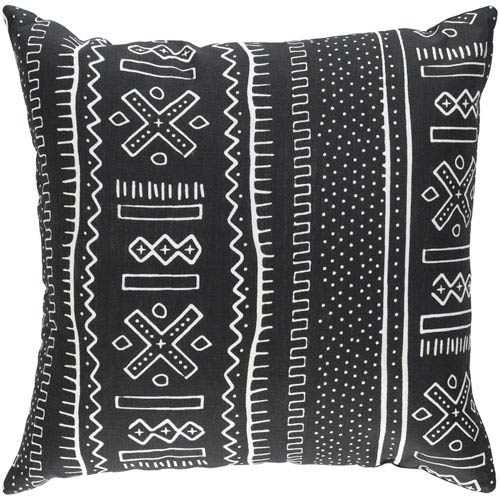 Artistic Weavers Ethiopia Nigeria Onyx Black and Ivory 18 x 18 In. Pillow with Down Fill