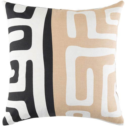 Artistic Weavers Ethiopia Morocco Beige, Ivory and Black 18 x 18 In. Pillow with Down Fill