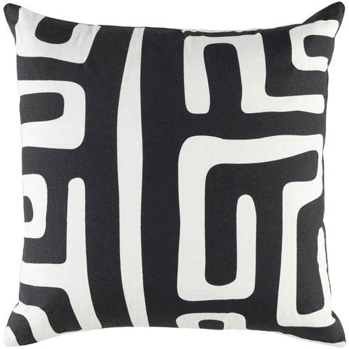 Ethiopia Morocco Onyx Black and Ivory 18 x 18 In. Pillow with Poly Fill