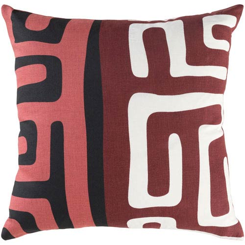 Artistic Weavers Ethiopia Morocco Burgundy, Black and Ivory 18 x 18 In. Pillow with Down Fill