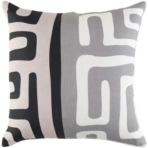 Ethiopia Morocco Gray, Ivory and Black 18 x 18 In. Pillow with Poly Fill