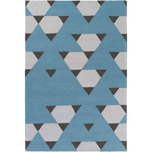 Hilda Brigitte Blue and Gray and Black Rectangular: 7 Ft. 6-Inch x 9 Ft. 6-Inch Area Rug