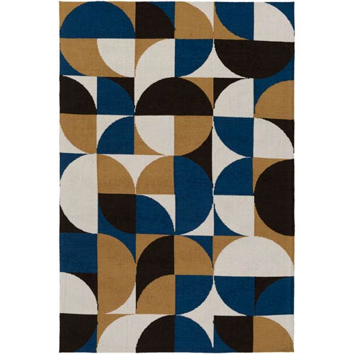 Artistic Weavers Joan Thatcher Navy Blue And Gold And Black Rectangular 2 Ft X 3 Ft Area Rug