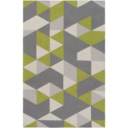 Joan Fulton Lime and Gray and Light Gray Rectangular: 2 Ft. x 3 Ft. Area Rug