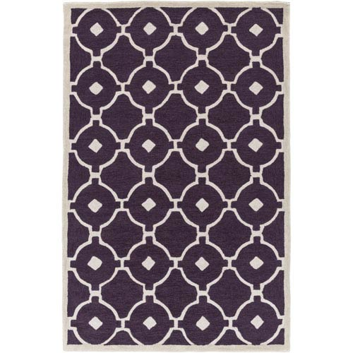 Holden Hazel Purple and Ivory Rectangular: 5 Ft x 7 Ft 6 In Rug