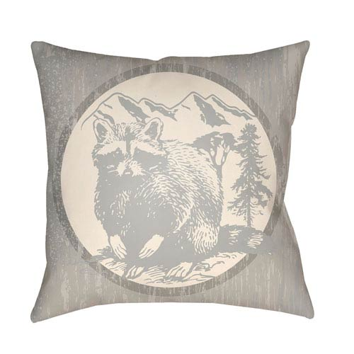 Artistic Weavers Lodge Cabin Raccoon Ridge Light Gray and Beige 22 x 22 In. Pillow with Poly Fill