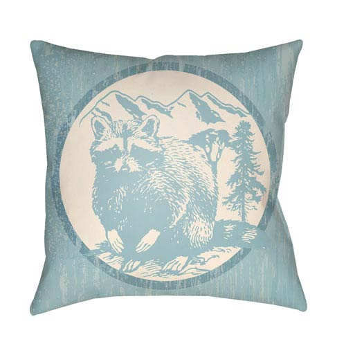 Artistic Weavers Lodge Cabin Raccoon Ridge Light Blue and Beige 18 x 18 In. Pillow with Poly Fill
