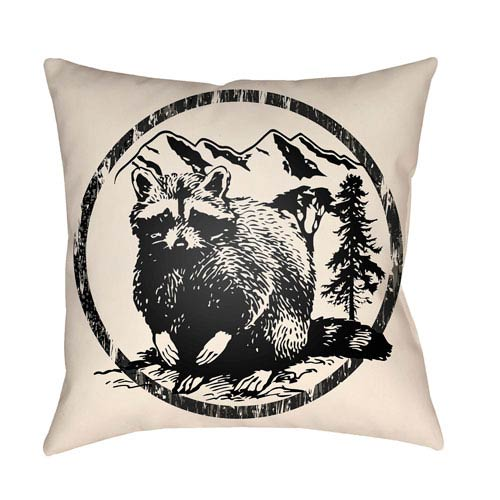 Artistic Weavers Lodge Cabin Raccoon Ridge Onyx Black and Beige 18 x 18 In. Pillow with Poly Fill