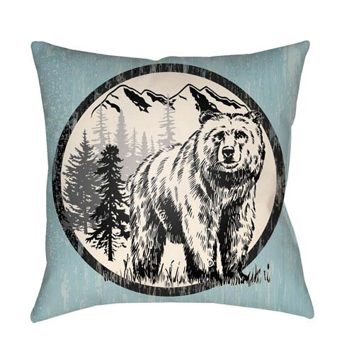 Artistic Weavers Lodge Cabin Bear Light Blue and Beige 26 x 26 In. Pillow with Poly Fill