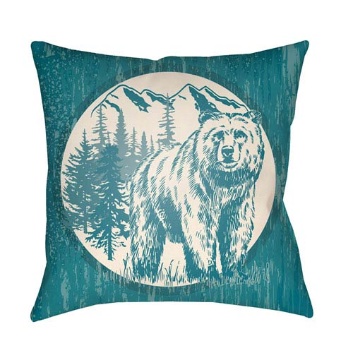 Artistic Weavers Lodge Cabin Bear Teal and Beige 26 x 26 In. Pillow with Poly Fill