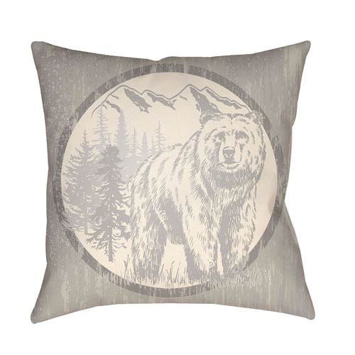 Artistic Weavers Lodge Cabin Bear Light Gray and Beige 18 x 18 In. Pillow with Poly Fill