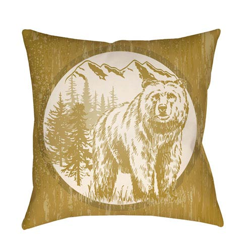 Lodge Cabin Bear Mustard and Beige 18 x 18 In. Pillow with Poly Fill