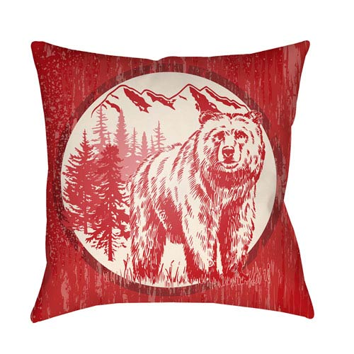 Artistic Weavers Lodge Cabin Bear Crimson Red and Beige 16 x 16 In. Pillow with Poly Fill
