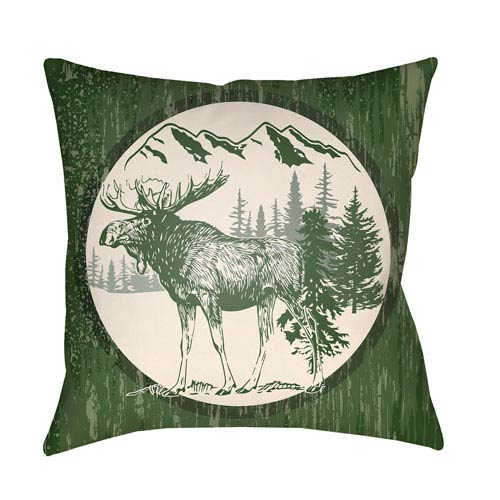Artistic Weavers Lodge Cabin Moose Forest Green and Beige 22 x 22 In. Pillow with Poly Fill
