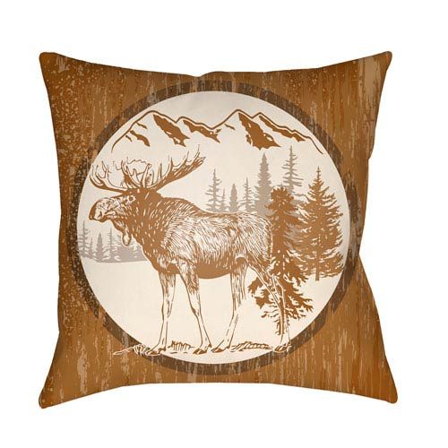 Artistic Weavers Lodge Cabin Moose Tan and Beige 20 x 20 In. Pillow with Poly Fill