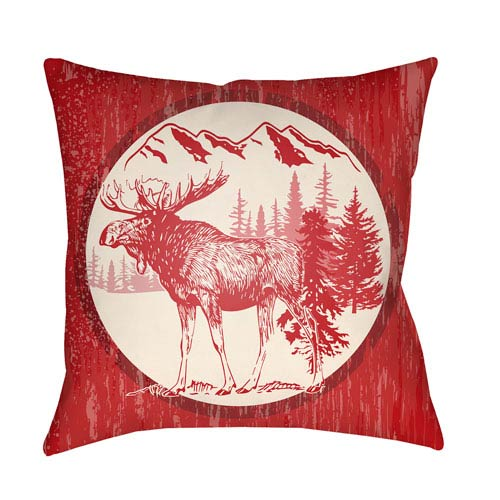 Artistic Weavers Lodge Cabin Moose Crimson Red and Beige 22 x 22 In. Pillow with Poly Fill