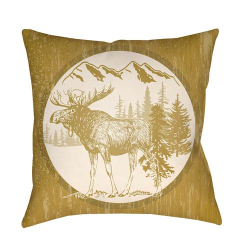 Artistic Weavers Lodge Cabin Moose Mustard and Beige 22 x 22 In. Pillow with Poly Fill