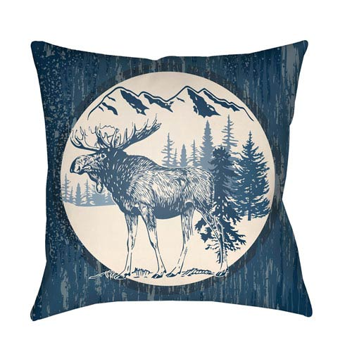 Artistic Weavers Lodge Cabin Moose Navy Blue and Beige 26 x 26 In. Pillow with Poly Fill