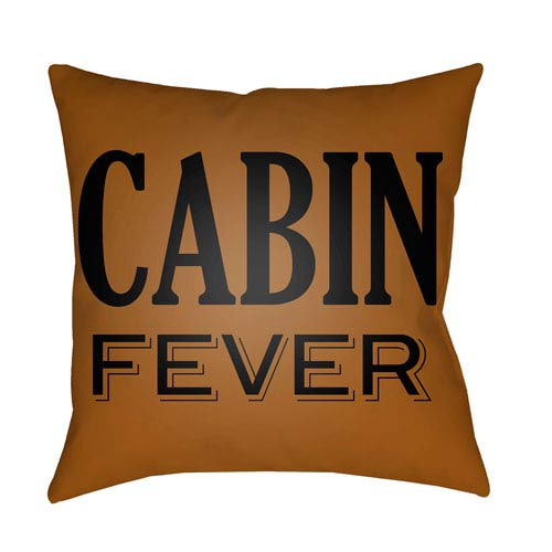 Lodge Cabin Cabin Fever Tan and Onyx Black 18 x 18 In. Pillow with Poly Fill
