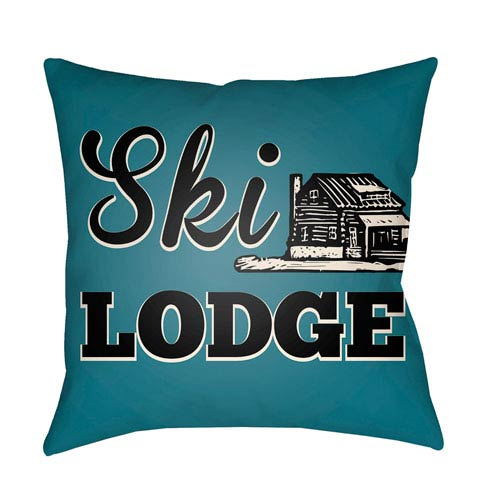 Artistic Weavers Lodge Cabin Ski Lodge Teal and Beige 18 x 18 In. Pillow with Poly Fill