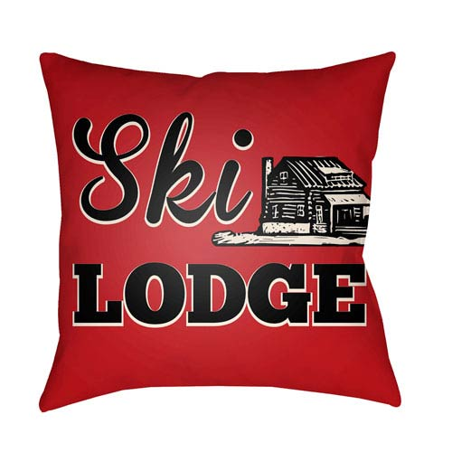 Artistic Weavers Lodge Cabin Ski Lodge Crimson Red and Beige 18 x 18 In. Pillow with Poly Fill