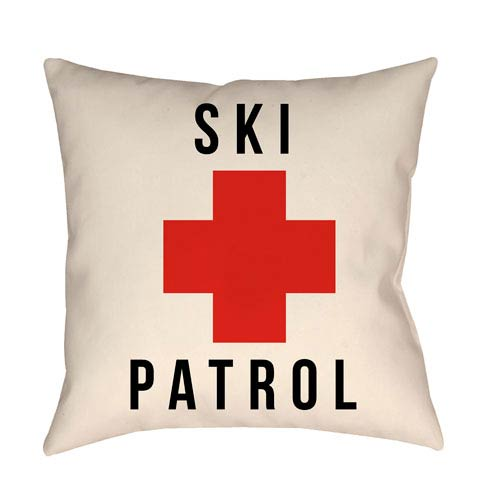 Lodge Cabin Ski Patrol Crimson Red and Beige 16 x 16 In. Pillow with Poly Fill