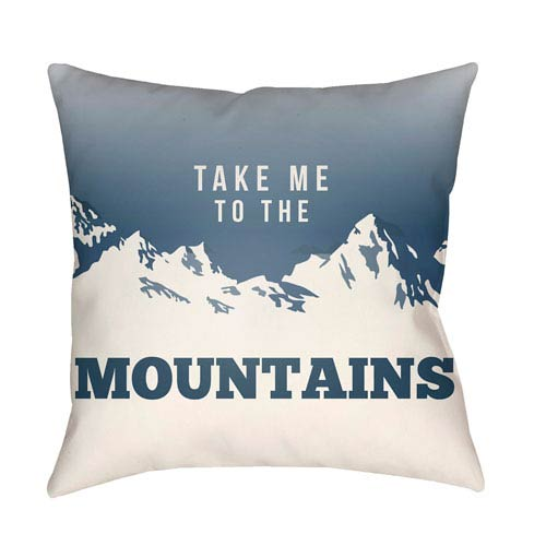 Artistic Weavers Lodge Cabin Mountain Slate and Beige 16 x 16 In. Pillow with Poly Fill