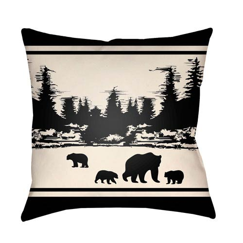 Artistic Weavers Lodge Cabin Woodland Onyx Black and Beige 18 x 18 In. Pillow with Poly Fill