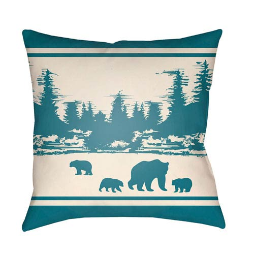 Artistic Weavers Lodge Cabin Woodland Teal and Beige 26 x 26 In. Pillow with Poly Fill