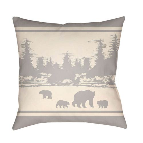Lodge Cabin Woodland Light Gray and Beige 26 x 26 In. Pillow with Poly Fill