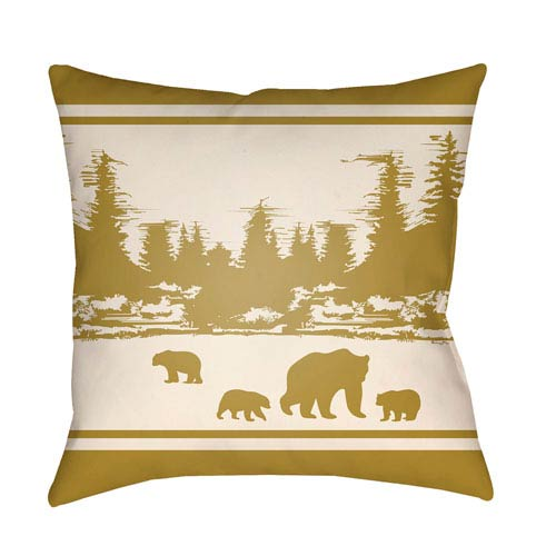 Lodge Cabin Woodland Mustard and Beige 18 x 18 In. Pillow with Poly Fill