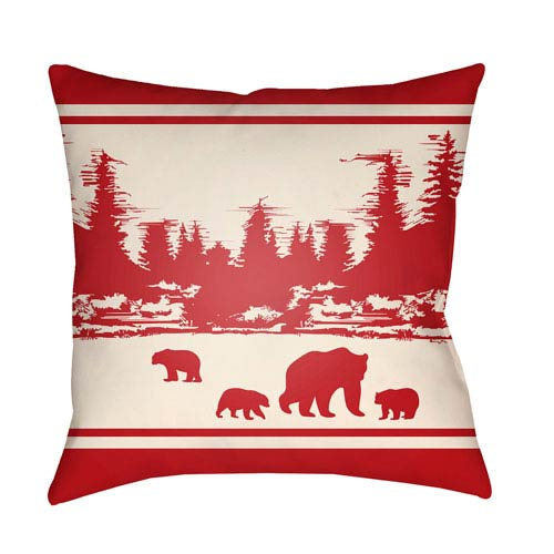 Artistic Weavers Lodge Cabin Woodland Crimson Red and Beige 26 x 26 In. Pillow with Poly Fill
