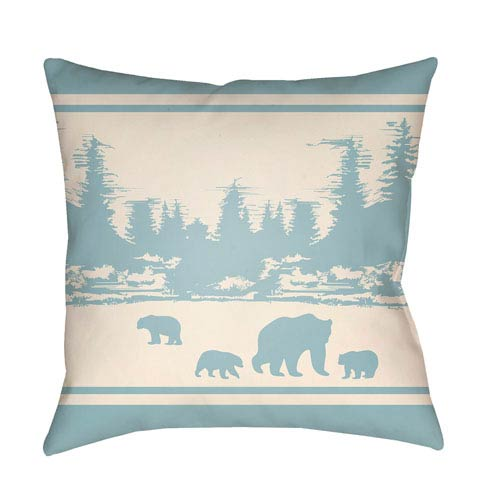 Lodge Cabin Woodland Light Blue and Beige 20 x 20 In. Pillow with Poly Fill