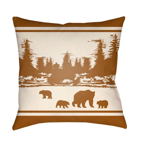Lodge Cabin Woodland Tan and Beige 26 x 26 In. Pillow with Poly Fill