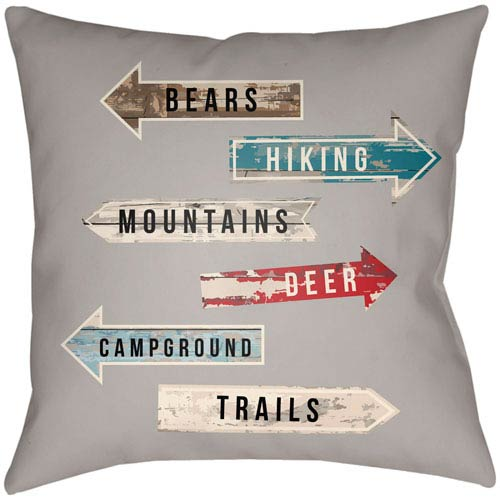 Artistic Weavers Lodge Cabin Compass Light Gray and Beige 20 x 20 In. Pillow with Poly Fill