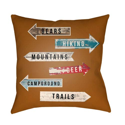 Artistic Weavers Lodge Cabin Compass Nutmeg and Beige 26 x 26 In. Pillow with Poly Fill