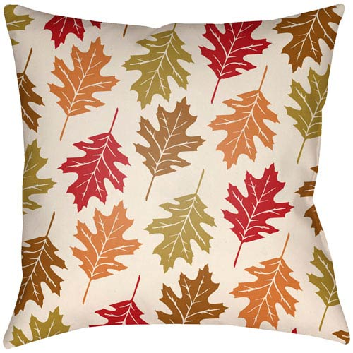 Lodge Cabin Autumn Crimson Red and Beige 18 x 18 In. Pillow with Poly Fill