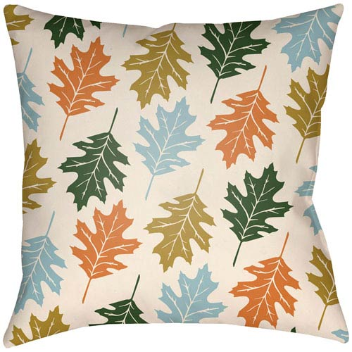 Artistic Weavers Lodge Cabin Autumn Beige and Light Blue 26 x 26 In. Pillow with Poly Fill