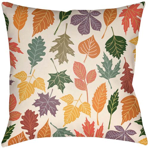 Artistic Weavers Lodge Cabin Foliage Crimson Red and Beige 18 x 18 In. Pillow with Poly Fill