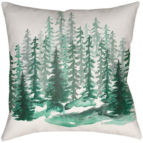 Lodge Cabin Balsam Forest Green and Beige 18 x 18 In. Pillow with Poly Fill