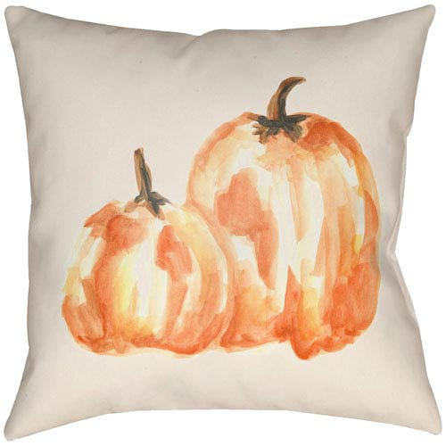 Lodge Cabin Pumpkin Spice Tangerine and Beige 16 x 16 In. Pillow with Poly Fill