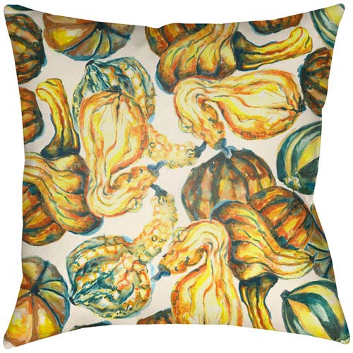 Lodge Cabin Harvest Burnt Orange and Beige 26 x 26 In. Pillow with Poly Fill