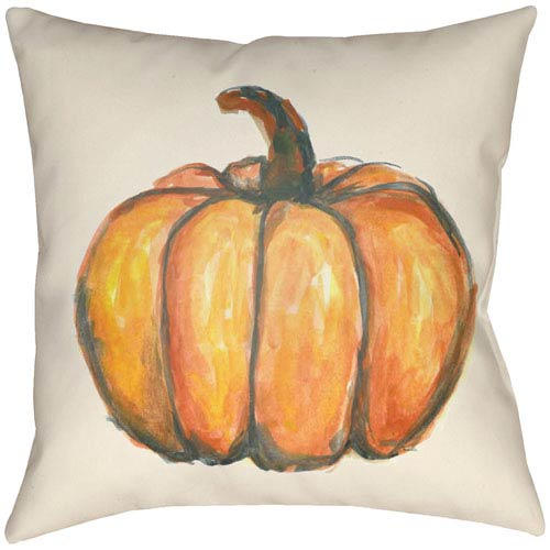 Lodge Cabin Squash Burnt Orange and Beige 22 x 22 In. Pillow with Poly Fill