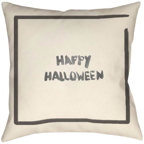Lodge Cabin Halloween Onyx Black and Beige 18 x 18 In. Pillow with Poly Fill