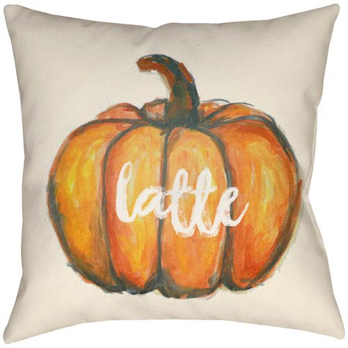 Lodge Cabin Latte Burnt Orange and Beige 20 x 20 In. Pillow with Poly Fill