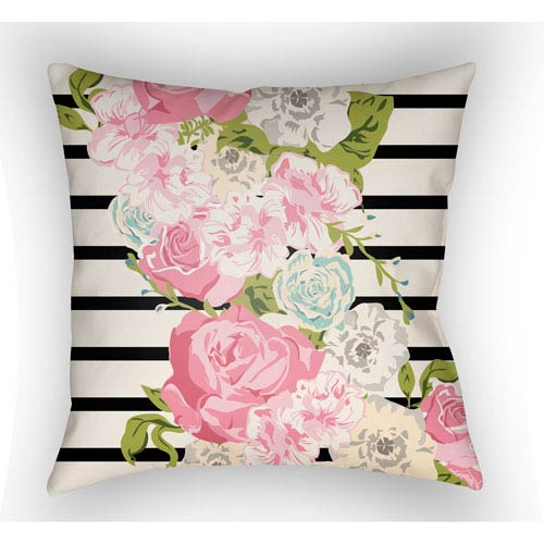 Lolita Sofia Pink, Ivory and Black 18 x 18 In. Pillow with Poly Fill