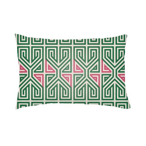Lolita Poppy Kelly Green and Hot Pink 18 x 18 In. Pillow with Poly Fill