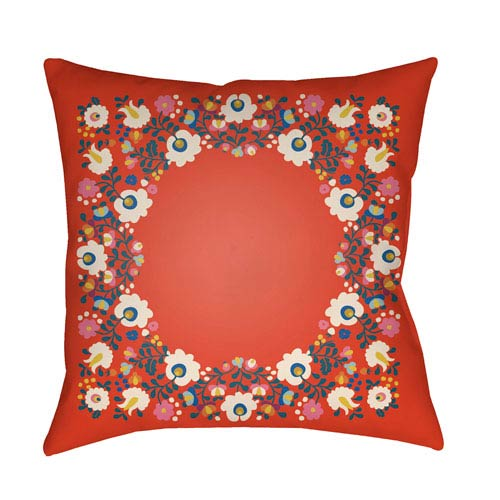 Artistic Weavers Lolita Camila Poppy Red and Teal 20 x 20 In. Pillow with Poly Fill