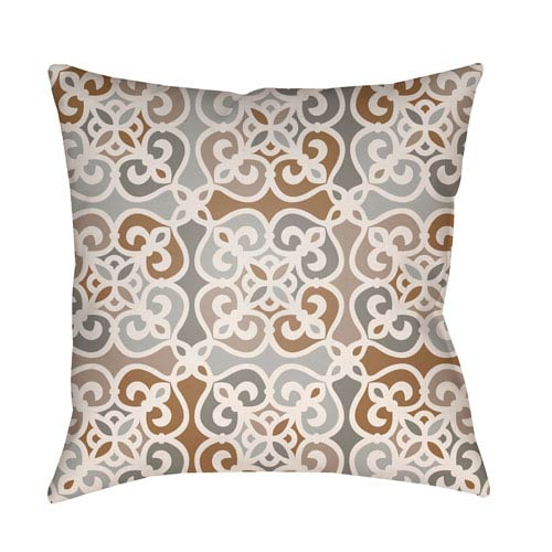 Lolita Juliana Light Gray and Gray 20 x 20 In. Pillow with Poly Fill
