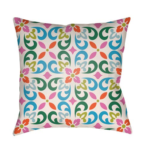 Lolita Senna Fuchsia and Aqua 20 x 20 In. Pillow with Poly Fill